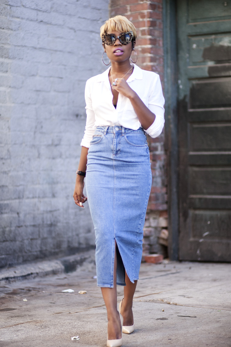The Best Denim Pencil Skirt In The World